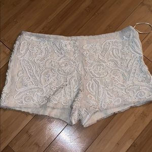 Zara beaded pearl and embroidered shorts